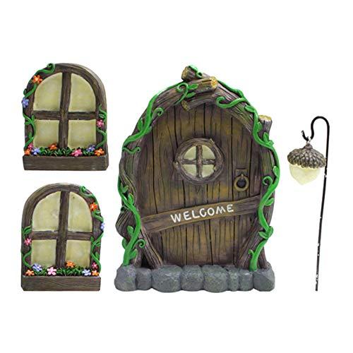 Adorno miniatura de resina para el hogar, ventanas y puerta para árboles, jardín, adornos de resina, gnomo de hadas, esculturas de arte para el hogar, césped, jardín y árbol