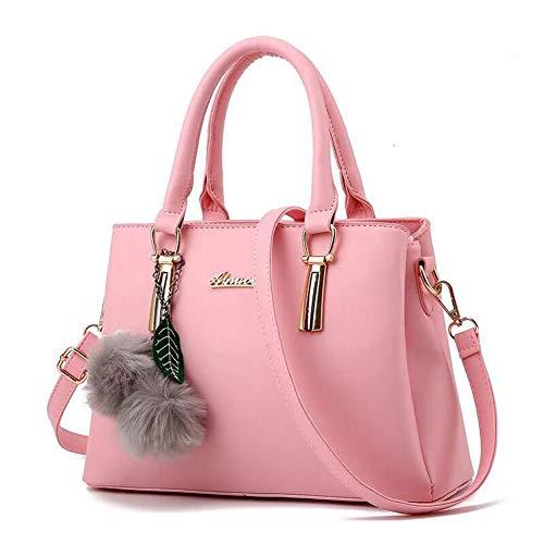 Dreubea Women's Leather Handbag Tote Shoulder Bag Crossbody Purse Pink