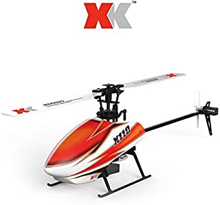 Panzisun WLToy RC 3D Heli Blast K110-B 6CH 3D 6G System Brushless Motor Drone Flybarless RTF One Key Transmitter Flips Roll Flight Funnels Quadcopter Voice Control Aircraft Toys CP Helicopter