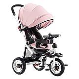WENJIE Triciclo Ventilador Plegable for niños Sombrilla Multifunción 4 en 1 Triciclo Espalda reclinable Bebé de 1-6 años Triciclo Exterior 2 Colores 95x52x (90-105) Cm (Color : Pink)