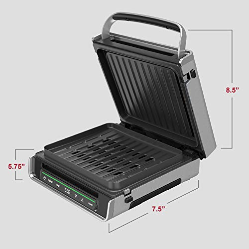 George Foreman Family Size (4-6 Servings), GRD6090B Smokeless-Digital Smart Select, Stainless Steel