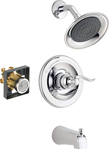 Delta Faucet Windemere Single-Function Tub and Shower Trim Kit with Single-Spray Shower Head, Chrome BT14496 (Valve Included)