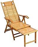 RSTJ Klappbarer Liegestuhl aus Bambus, Freizeitstuhl, Terrasse, Garten, Outdoor, Liegestuhl mit Armlehnen, Rückenlehne, Strandliege (Größe: verlängert)