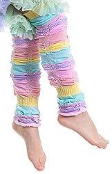 Huggalugs Baby & Toddler Girls Pastel Sherbet Stripe Ruffled Legruffle Leg Warmers