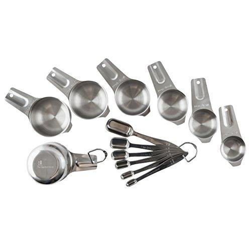 Juego de taza y cuchara medidora de 13 piezas, acero inoxidable resistente, apilable, apta para lavavajillas, cucharas para tarros estrechos, regalo ideal para chefs profesionales y domésticos
