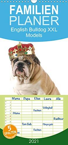 English Bulldog XXL Models - Familienplaner hoch (Wandkalender 2021, 21 cm x 45 cm, hoch)
