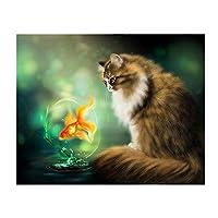YQQICC 5ddiyダイヤモンド刺繡猫と魚のダイヤモンド絵画クロスステッチフルスクエアラインストーンモザイク家の装飾 - 30x40cmフレームなし