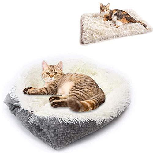 WAHHW Cama para Perros con Calentamiento Automático Almohadilla Térmica para Mascotas Plegable Y Lavable A Máquina Perrera para Perros De Doble Propósito, Utilizada para Viajes En Casa,Blanco