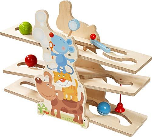 HABA 303906 - Kugelbahn Klick-Klack Tierfreunde | Kugelbahn aus Holz mit lustigem Tiermotiv und spannenden Effekten | Holzspielzeug ab 18 Monaten