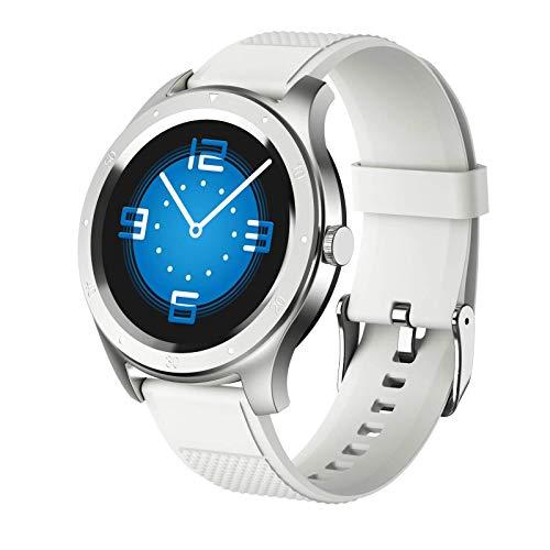 ZHENAO Smartwatch Watch 1.3 Pulgadas Ip67 Pantalla Táctil Completa Impermeable Botón de Pantalla Táctil Bluetooth Deportes Inteligente Inforión Del Recordatorio Reloj Exclusivo/Blanco