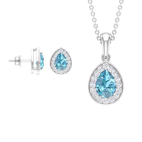 Juego de joyas de aguamarina y diamante en forma de lágrima de 2,75 ct y pendientes (calidad AAA), 14K Oro blanco, aguamarina