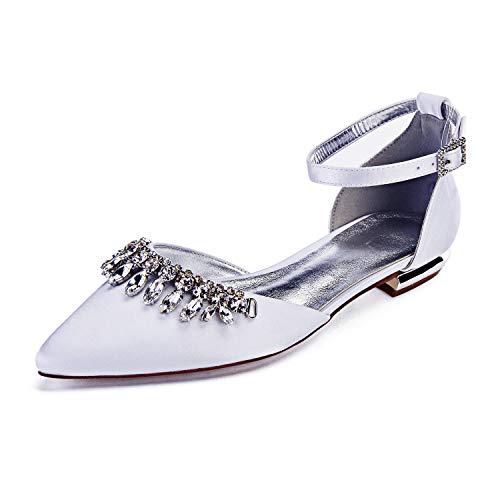 Zapatos De Boda De Novia para Mujer Dedo del Pie Puntiagudo Cerrada...