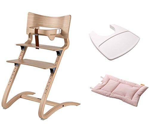 Leander stoel natural - hoge stoel - kinderstoel - volwassene stoel met babybeugel + dienblad wit + kussen soft pink