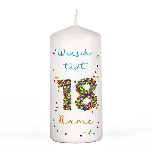 Herz & Heim® Geburtstagskerze - Konfetti - mit Namen und Wunschtext 18. Geburtstag