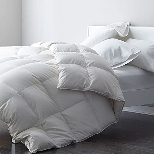 DWR Premium Goose Feather Down Comforter Duvet Insert - 100% Skin-Friendly Cotton, Medium Weight Quilted for All Season Bedding (Full/Queen, Ivory White)