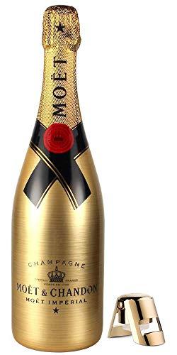 Moët & Chandon Brut Imperial Golden Sleeve Design Magnum Champagner Flasche mit Gravuroptik + Edelstahl-Flaschenverschluss (1 x 1,5 l)