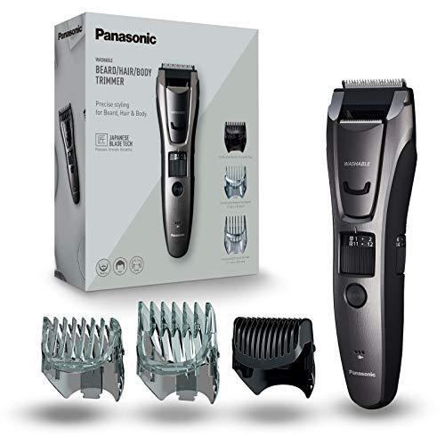 Panasonic ER-GB80-H503 - Cortador de Pelo y Barba Precisa Premium para Hombre (3 en 1, Recargable, Acero Inoxidable, Batería Larga Duración, 40 Ajustes, 3 Accesorios Incluidos) Gris Oscuro