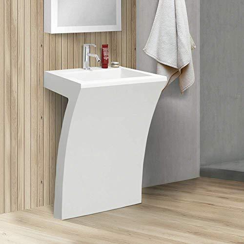 7-Shape Cedar Falls Modern Vanity Pedestal Sink, White, By Fine Fixtures