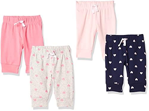 Amazon Essentials - Pack de 4 pantalones con cintura elástica para niña, Solid, Heart, Navy & Grey, Bebé prematuro