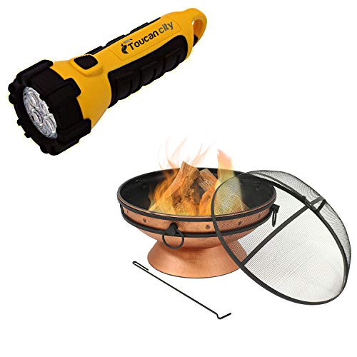 Toucan City LED Flashlight and Decor 30 in. Copper Royal Cauldron Fire Pit with Handles and Spark Screen NB-FFP30-Copper