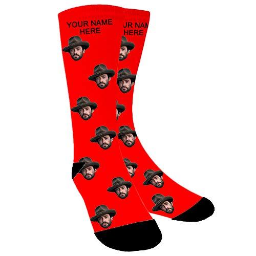 ABIsedrin Calcetines personalizados, calcetines divertidos con foto, regalo del día del padre, cumpleaños, día de Navidad (Rojo)