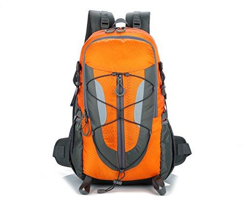 Lily's Locker - Mujer y Hombre 30L Mochila con Múltiples Almacenamiento Compartimiento para Senderismo Camping Viajes Montañismo Trekking o Escuela 29 x50 x18CM (Naranja)