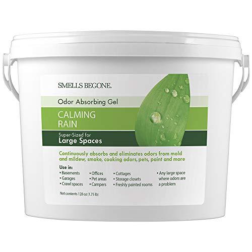 SMELLS BEGONE Odor Absorber Gel - Air Freshener & Odor Eliminator for Homes, Garages & Commercial Buildings - Industrial Size & Strength - Calming Rain Scent - 1 Gallon