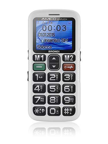Brondi Amico Semplice + Telefono Cellulare Dual SIM, Tasto SOS,  Bianco