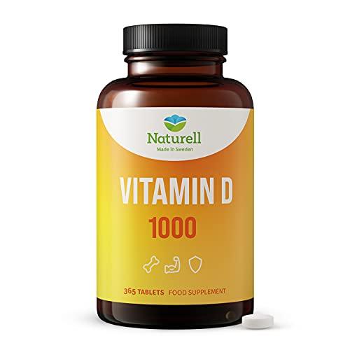 Vitamin D 1000 Naturell - 365 Tabletten zum Zerbeißen und Kauen - hergestellt in Schweden