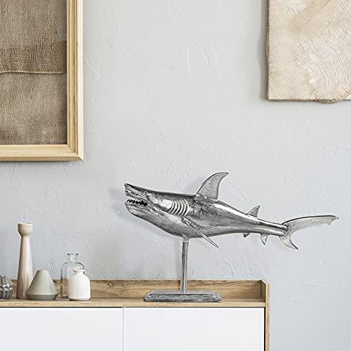 WOMO-DESIGN Escultura de Tiburón 68x39 cm (Al x An) Decoración de Pared Diseño Marítimo Plata de Aluminio Púlido Estatua con Recubrimiento de Níquel Adorno Colgante Figura de Pez para el Hogar