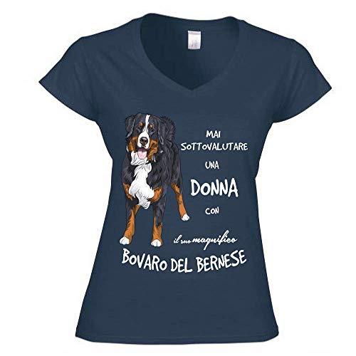 12Print T-Shirt Donna a V: Mai Sottovalutare Una Donna con Il Suo Bovaro del Bernese. Colore Blu Taglia L