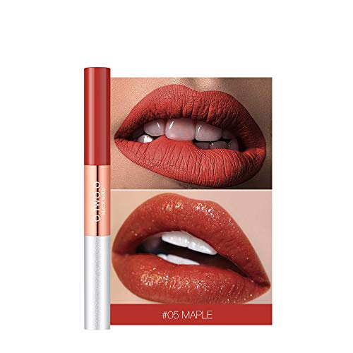 2 in 1 Matte & Glitter Matte Velvety Moisturizer Langdurige lipgloss Waterdichte natuurlijke vloeibare lippenstift # 05