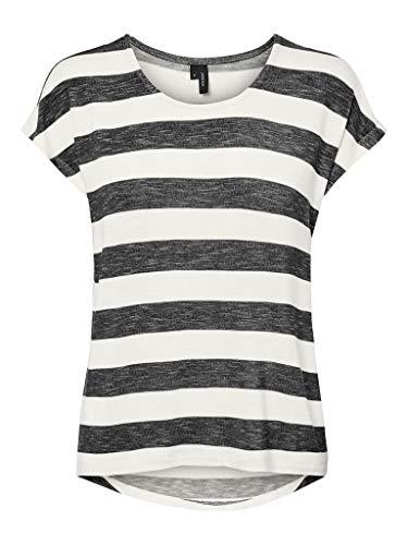 VERO MODA Damen Vmwide Stripe S/L Top Noos T-Shirt, Schwarze und Weiße Streifen, M