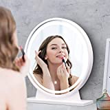 """Lighted Tabletop Vanity Mirror with Pedestal - 18.65"""" LED Dimmable Round Makeup Cosmetic Mirror for Bedroom Touch Button Anti-Fog Function High Definition Mirror (White)"""