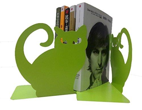 Juego de dos sujetalibros con diseño de gato persa, decorativos, de metal, color verde