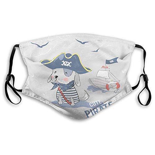 Mondmasker gezichtsmasker schattige piraat hond slogan leuke piraat hond schip slogan baby patch mode kleding sticker