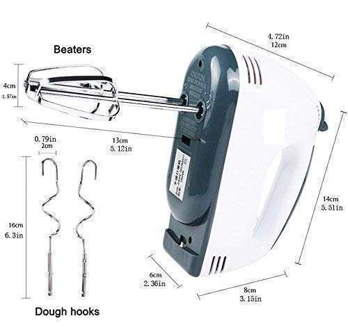 SANIDHYA® Electric Egg Beater Hand Mixer Stainless Steel Hooks Set 7-Speed,260w (Includes Components Spatula and Cake Decorating Tool)