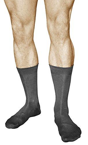 vitsocks Herren Business Socken mercerisierte Baumwolle (3x PACK) casual dünn einfarbig, grau, 44-46