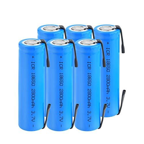 RitzyRose Batería de iones de litio de 3,7 V, 2800 mAh, ICR 18650, con pilas recargables con pestañas para linterna para portátil (6 unidades)