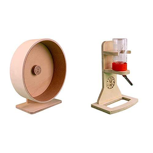 Getzoo Ø 27 cm Premium Korklaufrad (Höhe 29-39cm) & Tränke aus Holz + Classic Trinkflasche 75 ml