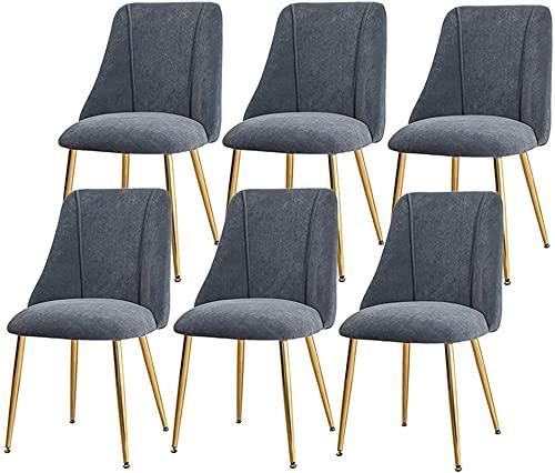 VEESYV Velvet Dining Chairs 6er-Set Sitz Und Rückenlehne Aus Weichem Samtkissen rutschfeste Metallbeine Küchenstühle Für Wohnzimmer Schlafzimmer Küche (Farbe : Grey)