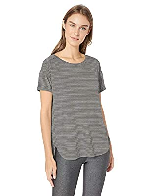 Amazon Essentials Women's Studio Relaxed-Fit Lightweight Crewneck T-Shirt, -charcoal heather stripe, X-Large