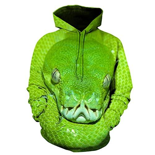 TooFoYo Hombre Mujer Hoodie 3D Impresión HD Pullover Sudadera con Capucha Ocio Cálido Sweatshirt Manga Larga Suéter Unisex Abrigo Chaqueta Rompevientos Jacket Top Animal Snake Dinosaur M