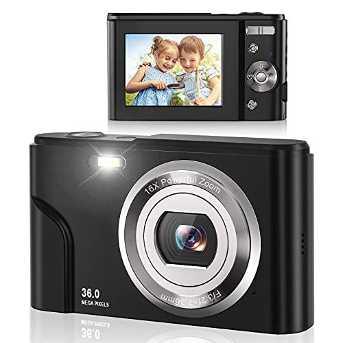 tax cameras Lecran Digital Camera FHD 1080P 36.0 MP Vlogging Camera with 16X Digital Zoom, LCD Screen, Compact Portable Mini Cameras for Students, Teens, Kids (Black)