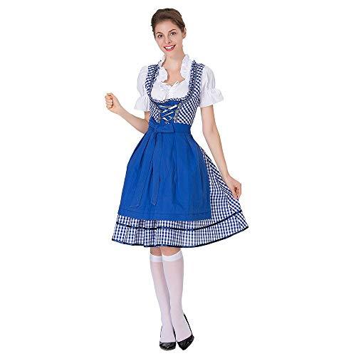 LOPILY Trachtenmode für Oktoberfest Trachtenkleid Damen Dirndl Damen Midi Dirndl Komplettsets mit Bluse und Schnürze Mehrfarbig Traditionell Dirndl Kariert Muster