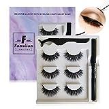 False Eyelashes with Eyeliner Kit, FANXITON 3 Pairs Faux Fluffy Mink Eyelashes with Eyeliner - Strong Hold for Lashes - No Magnet and No Glue Needed