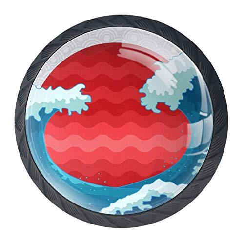 TIKISMILE Japanische Wellen-Schubladenknauf, ergonomischer 35 mm Kristallglas, Möbelgriff, Schrankgriff für Küche, Kommode, Schrank, Kleiderschrank, 4 Stück