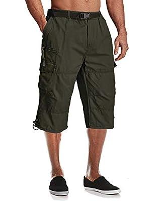 MAGCOMSEN Tactical Shorts Men Work Shorts for Men 3/4 Pants Men Utility Shorts Hiking Shorts Camping Shorts Long Shorts Below Knee Shorts Cargo Shorts Capri Shorts for Men Army Green