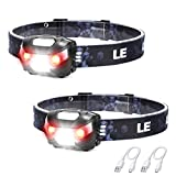 LED Rechargeable Headlamp Flashlights, Headlights with 5 Lighting Modes, Adjustable and Comfortable for Kids and Adults, Easy to Use, Perfect for Running, Camping, Hiking and More, Pack of 2