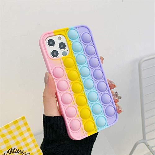 LUCKYYL Pop It Phone Case, Push Pop Bubble Sensory Fidget Toy Stress Relief, Shockproof Phone Cover for iPhone 7/8, 7Plus/8 Plus, X/XS, XS MAX, 11, 11Pro, 11 Pro MAX